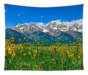 Teton Peaks And Flowers Tapestry