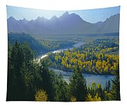 2m9301-teton Range From Snake River Overlook Tapestry