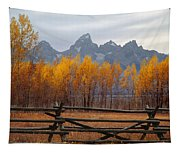 1m9354-teton Range In Autumn From Jackson Hole Ranch Country Tapestry