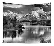 Tetons In Black And White Tapestry