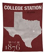Texas A And M University Aggies College Station College Town State Map Poster Series No 106 Tapestry