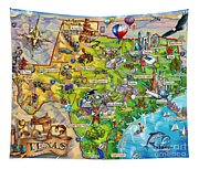 Texas Illustrated Map Tapestry