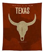 Texas State Facts Minimalist Movie Poster Art  Tapestry