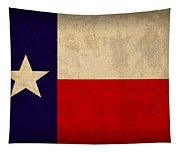 Texas State Flag Lone Star State Art On Worn Canvas Tapestry