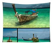 Thailand Longboats Tapestry