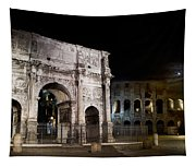 The Arch Of Constantine And The Colosseum At Night Tapestry