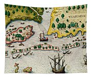 The Arrival Of The English In Virginia Tapestry