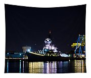 The Battleship New Jersey At Night Tapestry