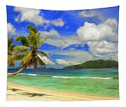 The Beach At Anse Gaulettes Tapestry