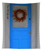 The Blue Door With Bittersweet Wreath Tapestry
