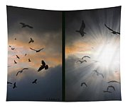 The Call - The Caw - Gently Cross Your Eyes And Focus On The Middle Image Tapestry