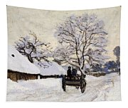 The Carriage- The Road To Honfleur Under Snow Tapestry