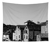 The Castle Above The Village Panorama In Black Nd White Tapestry