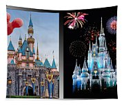 The Castles Of Disney 2 Panel Vertical Tapestry