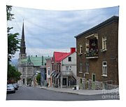 The Corner Of Rue Sainte Claire Overlooking Saint Jean Baptist Church Tapestry
