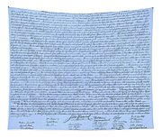 The Declaration Of Independence In Cyan Tapestry