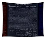 The Declaration Of Independence In Negative Red White And Blue Tapestry