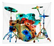 The Drums - Music Art By Sharon Cummings Tapestry