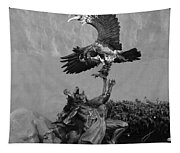 The Eagle And The Indian In Black And White Tapestry