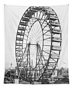 The Ferris Wheel At The Worlds Columbian Exposition Of 1893 In Chicago Bw Photo Tapestry