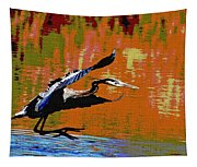 The Great Blue Heron Jumps To Flight Tapestry