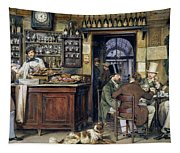 The Greek Cafe In Rome Tapestry