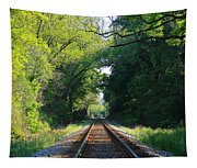 The Green Line Railroad Track Art Tapestry