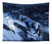 The Light And Shadows Of A Man And His Horse Tapestry