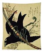 The Little Raven With The Minamoto Clan Sword Tapestry
