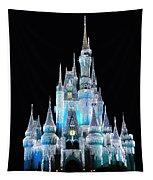 The Magic Kingdom Castle In Frosty Light Blue Walt Disney World Tapestry