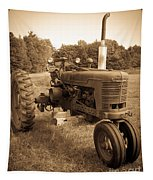 The Old Tractor Sepia Tapestry