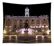 The Piazza Del Campidoglio At Night Tapestry