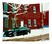 The Point Pointe St Charles Snowy Walk Past Red Brick House Winter City Scene Carole Spandau Tapestry