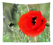 The Poppy And The Bee Tapestry