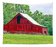 The Red Barn - Featured In Old Buildings And Ruins Group Tapestry