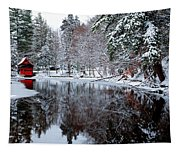 Red Boathouse On Beaver Brook Tapestry