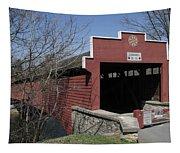 The Red Bridge Or Wertz's Cover Bridge Tapestry