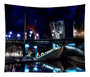 The Riverside Pool Of The Guggenheim Museum In Bilbao Spain Tapestry