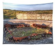 The Ruins Of A Ww2 Cannon And Bunkers Tapestry
