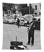 The Saxman In Black And White Tapestry