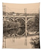 The Schuylkill River And Manayunk Bridge In Sepia Tapestry