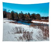 The Snowy Moose River - Old Forge New York Tapestry
