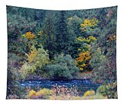 The Spokane River In The Fall Colors Tapestry
