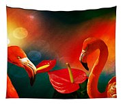 The Three Flamingos - Featured In 'feathers And Beaks' 'wildlife' And 'comfortable Art'  Groups Tapestry