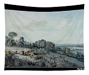 The Valley Of The Stour, Looking Towards East Bergholt, 1880 Pencil, Pen And Ink And Watercolour Tapestry