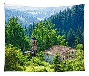 The Village Church - Impressions Of Mountains And Forests Tapestry