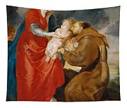 The Virgin Presents The Infant Jesus To Saint Francis Tapestry