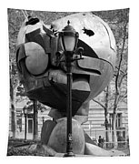 The W T C Plaza Fountain Sphere In Black And White Tapestry