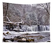 The Waterfall Near Valley Green In The Snow Tapestry