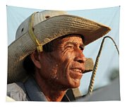 The Weathered Face Of An Ox Cart Driver Tapestry